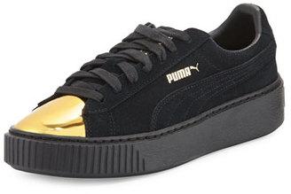 Puma Basket Suede Cap-Toe Creeper, Gold/Black $110 thestylecure.com
