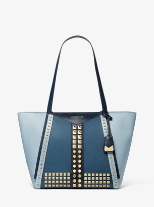MICHAEL Michael Kors Whitney Large Studded Saffiano Leather Tote Bag