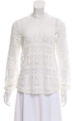 BA&SH Crochet Long Sleeve Top