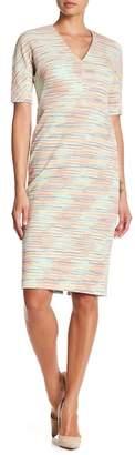 Maggy London Striped Knit V-Neck Dress