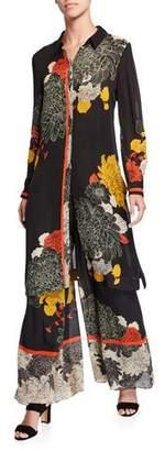 Kobi Halperin Julia Floral Button-Down Long Silk Blouse