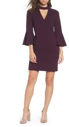Eliza J Choker Bell Sleeve Shift Dress