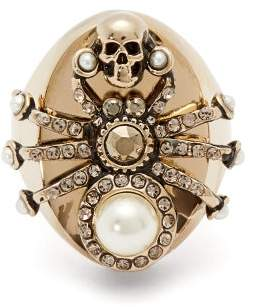 Alexander McQueen Spider Pearl And Crystal Embellished Ring - Womens - Gold