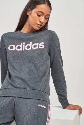 Next Womens adidas Grey Heather Linear Crew