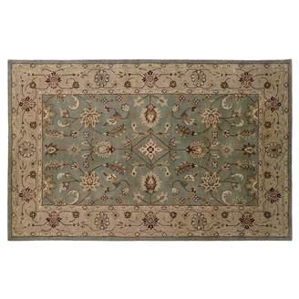 Linon Rosedown Beige Framed Floral Wool Rug