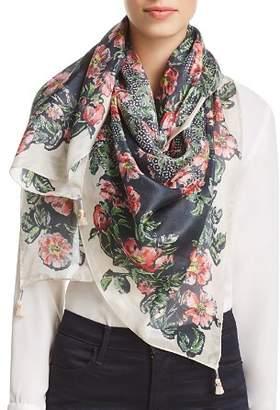 Johnny Was Kish Floral-Print Silk Scarf