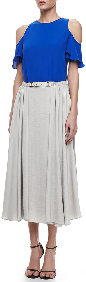 Halston Belted Jersey Maxi Skirt