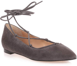 Gianvito Rossi Grey suede lace up Femi' Flat