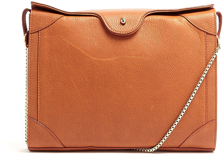 Carven Grained Leather With Contrast Piping Curved Shoulder Bag By