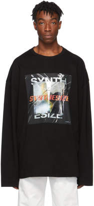 Juun.J Black Graphic Print Long-Sleeve T-Shirt