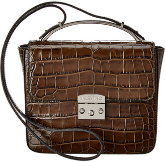 Mario Valentino Valentino By Marie Croc-Embossed Leather Crossbody
