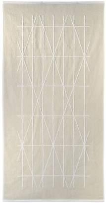 DKNY Ivory Cotton 'Geometrix' Jacquard Bath Mat