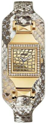 GUESS Women's Gold-Tone Embossed Cuff Watch