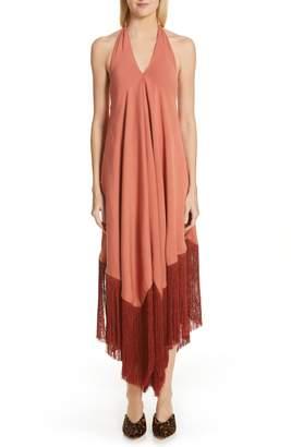 Cult Gaia Ali Fringe Halter Maxi Dress