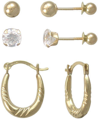 JCPenney FINE JEWELRY Girls 14K Gold Hoop & Stud Earring Set