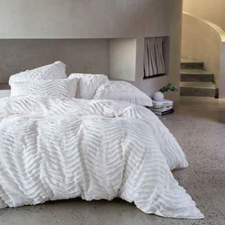 Nordic Linen House Drift Quilt Cover Set, White, Single
