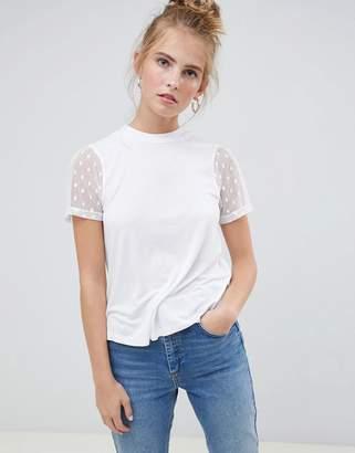 Asos Design DESIGN high neck t-shirt with dobby mesh sleeve