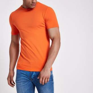 River Island Orange muscle fit crew neck T- shirt