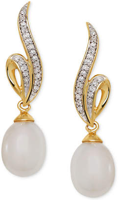 Honora Cultured Freshwater Pearl (7mm) & Diamond (1/10 ct. t.w.) Drop Earrings in 14k Gold