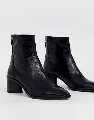 Office Achillies inlined leather kitten heel ankle boot