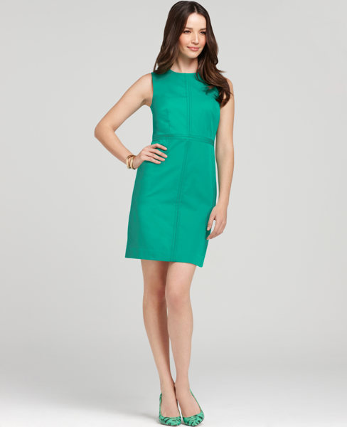Petite Polished Cotton Seamed Zip Sheath Dress