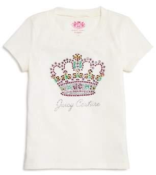 Juicy Couture Black Label Girls' Rhinestone Crown Tee - Big Kid