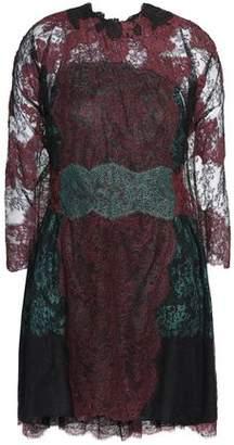 Valentino Cape-Back Silk Chantilly Lace Mini Dress