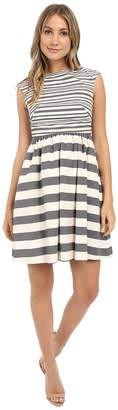 Donna Morgan Yarn Dye Linen Fit and Flare with Stripes Women's Dress