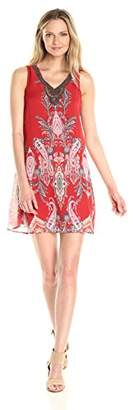 Sandra Darren Women's Sleeveless Printed Chiffon Necklace V-Neck Trapeze Dress