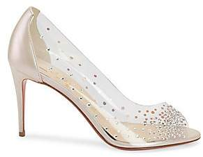 Christian Louboutin Women's Sucre Glace Crystal PVC Leather Pumps