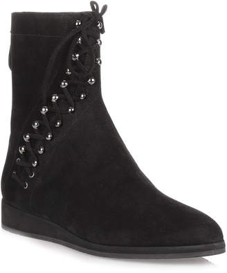 Alaia Black suede lace-up ankle boot