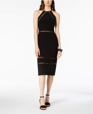 Betsy & Adam Mesh-Stripe Midi Halter Dress