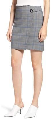 Vince Camuto Plaid Faux Wrap Miniskirt
