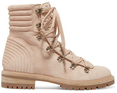 Christian Louboutin - Mad Spiked Quilted Suede Ankle Boots - Neutral