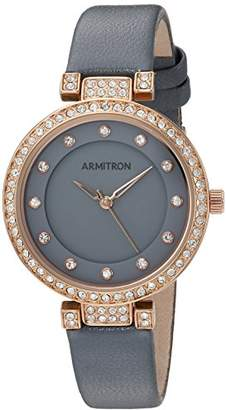 Swarovski Armitron Women's 75/5455GYRGGY Crystal Accented Rose Gold-Tone and Grey Leather Strap Watch