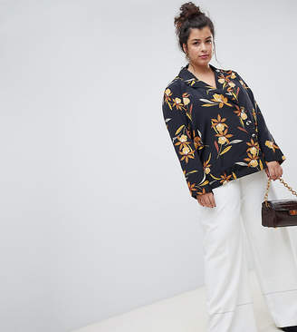 Asos Neon Rose Plus relaxed button wrap shirt in romantic floral