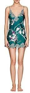 Carine Gilson Women's Lace-Trimmed Floral Silk Chemise - Imp Paradis Eucalyptus - Cream Rosé