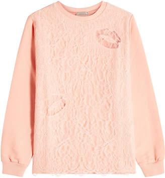 Nina Ricci Cotton Sweatshirt with Lace Overlay