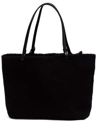 The Row Park Shearling Tote Bag - Womens - Black