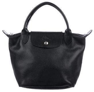 Longchamp Small Le Pliage Cuir Top Handle Tote
