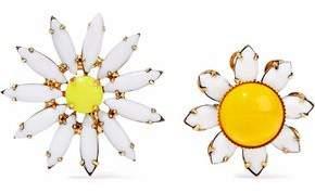 Elizabeth Cole 24-Karat Gold-Plated Stone Earrings