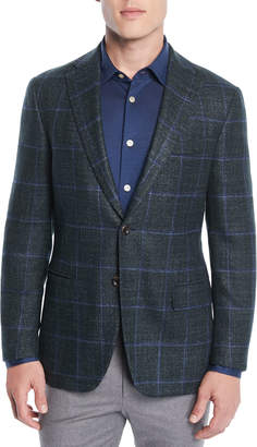 Men's Windowpane Two-Button Jacket