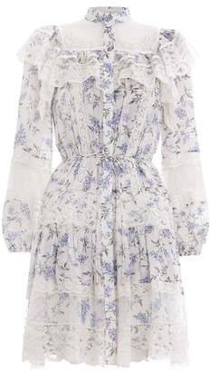 Zimmermann Moncur Lace Yoke Short Dress