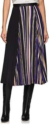 AKIRA NAKA Women's Leather-Trimmed Striped Pleated Skirt