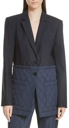 Tibi Mixed Media Quilted Detail Oversize Jacket