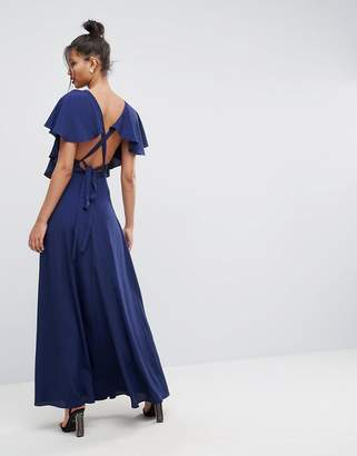 Asos DESIGN Flutter Sleeve Cross Back Maxi Dress