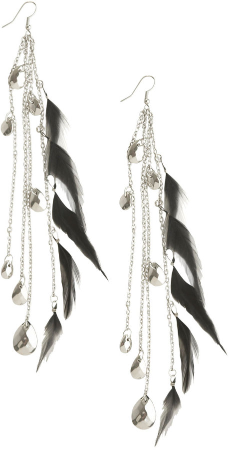 Arden B Linear Bead and Feather Earrings