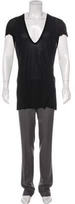 Rick Owens Semi-Sheer Silk Longline T-Shirt