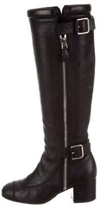 Chanel Leather Knee-High Boots Black Leather Knee-High Boots