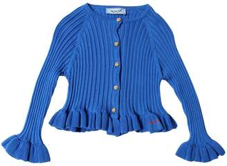 Ruffled Cotton Rib Knit Cardigan